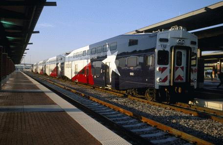 TRE commuter rail train in Dallas