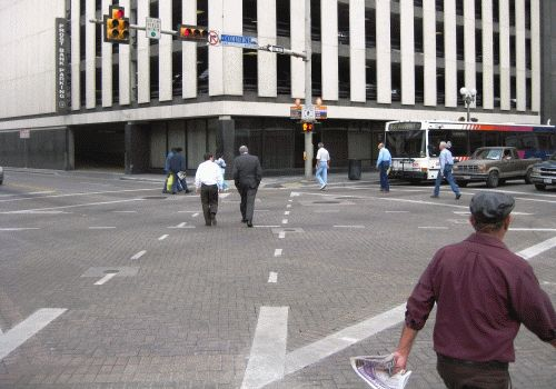 Scramble crossing at Commerce and Flores