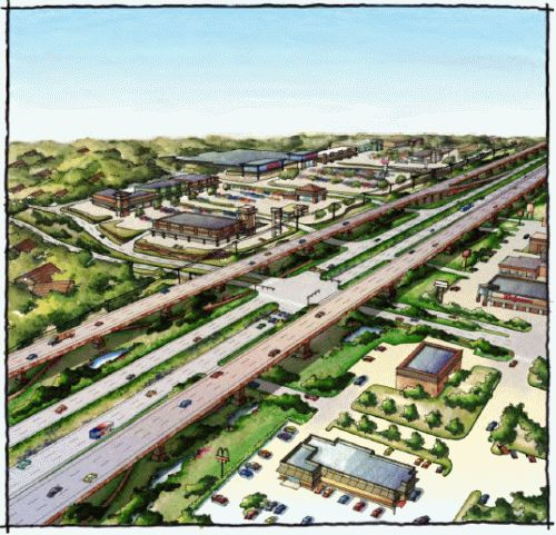 Artist's rendering of possible elevated expressway at 281 and Evans