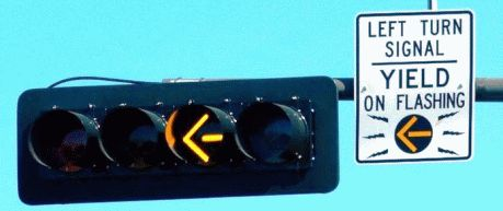 Flashing yellow arrow signal