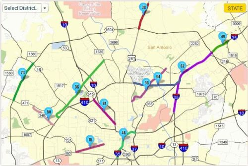 Most congested road segments in Bexar County